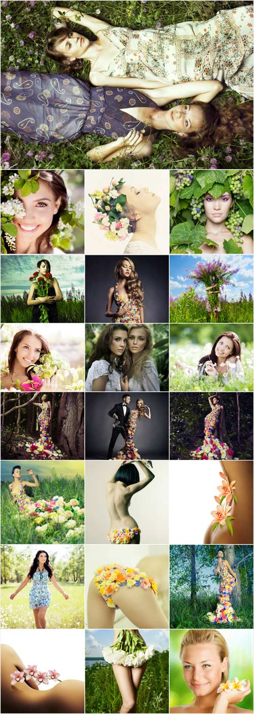 Gentle spring girl stock photos