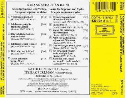 Kathleen Battle (soprano) & Itzhak Perlman – J.S. Bach: Arias (Orchestra of St. Luke's, John Nelson) / 1992 DG