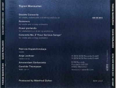 Tigran Mansurian – QUASI PARLANDO / 2014 ECM